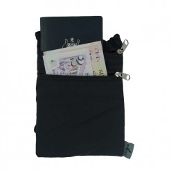 Amble travel wallet shown with two zips on front for passport and money