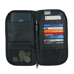 Opened explorer travel wallet with coin section and lots of room for cards and documents