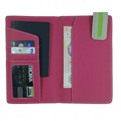 Inside view of green flutter travel wallet with eye catching pink green contrast
