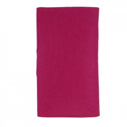 Bright pink felt shown in rear view of flux passport holder