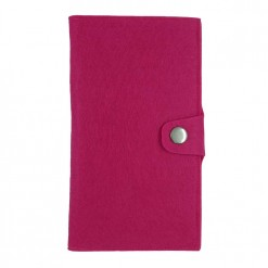 Front view of bright pink flux passport wallet