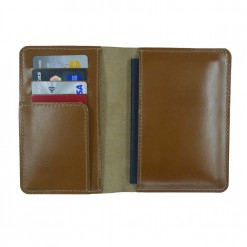 Beautifully hand stitched leather of the Mosey travel wallet