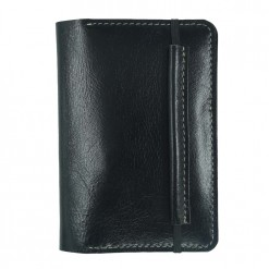 Front view of the black Mosey passport wallet with elastic clasp