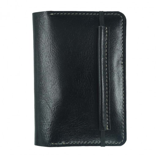 Mosey Black Leather Travel Wallet Front