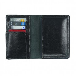 Stunning leather internal view of the black Mosey passport travel wallet
