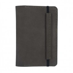 Front view of the dark brown Mosey travel wallet with leather clasp