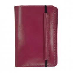 Front view of closed pink Mosey travel wallet