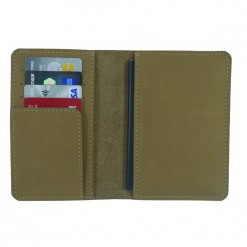 Open view of light brown Mosey travel wallet