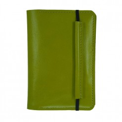 Front view of the lime leather Mosey travel wallet