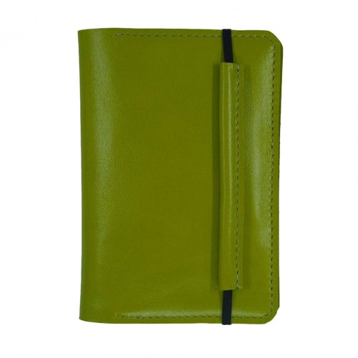Mosey Lime Leather Travel Wallet Front