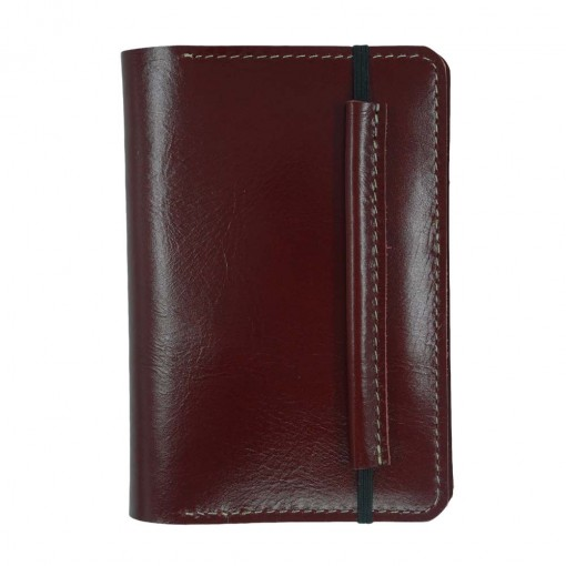 Mosey Maroon Leather Travel Wallet Front