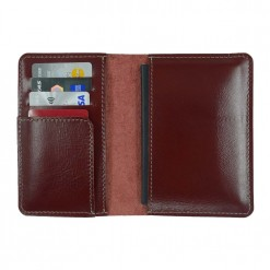 View of the inside of maroon leather Mosey passport wallet