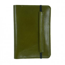 Front view of olive Mosey leather passport holder