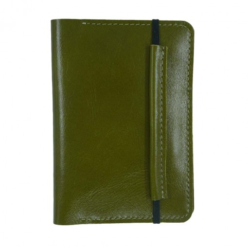 Mosey Olive Leather Travel Wallet Front