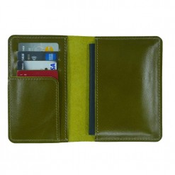 Internal view of olive green leather Mosey travel wallet