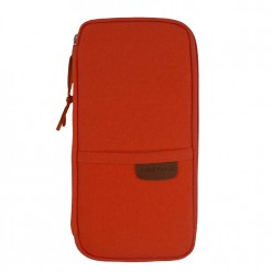 Front view of rider orange travel and passport wallet