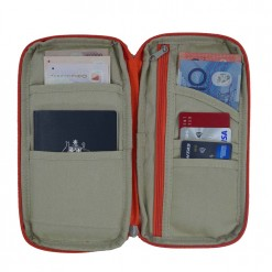 Internal view of rider travel document holder