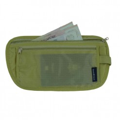Tan coloured money belt with two zipped compartments