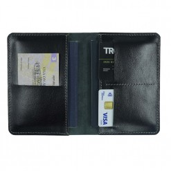 Internal view of the traverse travel wallet which holds two passports