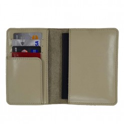 Inside view of cream leather travel wallet
