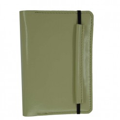 Front view of cream leather passport wallet