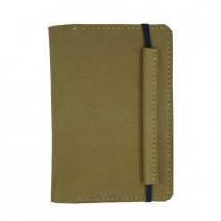 Front view of light brown nubuck leather travel wallet