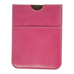 Bright pink real leather travel wallet with hand stitching