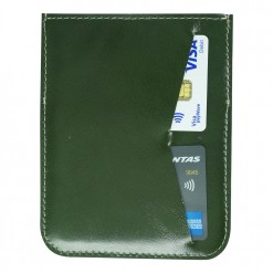 Dark green hand stitched leather passport holder