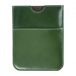 Green leather travel wallet with white stitching