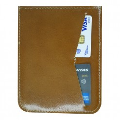Back view of brown leather passport holder hand stitched
