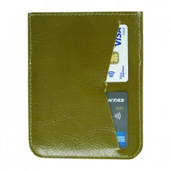 Back view of passport holder with two credit cards olive colour