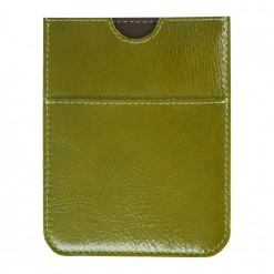 Lime green leather travel wallet with fine stitching