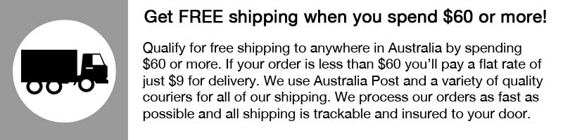 Free shipping for all orders over $60 and flat rate shipping is just $9
