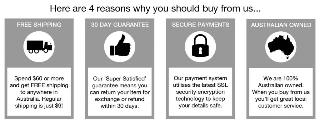 4 great reasons for why to buy from us including our great free shipping deals, 30 day guarantee, our secure payment system and that we are Australian owned
