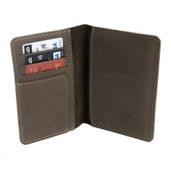 Opened angled view of Nomad leather travel wallet in dark brown
