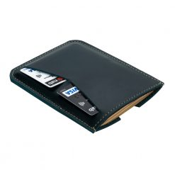 Blue wanderer passport holder laying face down with cards inserted