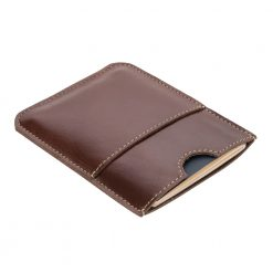 Front angled view of passport holder laying flat
