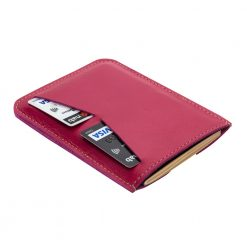 Rear side of fuschia pink travel wallet and passport holder