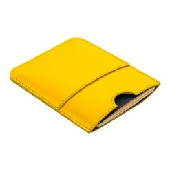 Front view of yellow travel wallet and passport holder with front pocket for tickets